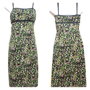 BCBG Dresses Black Floral Slip Dress Green Pink M